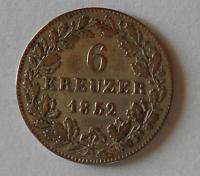 Wurttenberg 6 Krejcar 1852