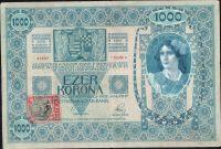 1000Kč/1902-18, kolek ČSR/, stav 3-, série 1116, šedý podtisk