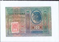 100Kč/1912-18, kolek stříhaný ČSR/, stav 1- s.l., série 1461, číslo ministerského alba na rubu č. 61