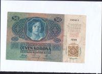 50Kč/1914-17, kolek ČSR/, stav 2, série 1039