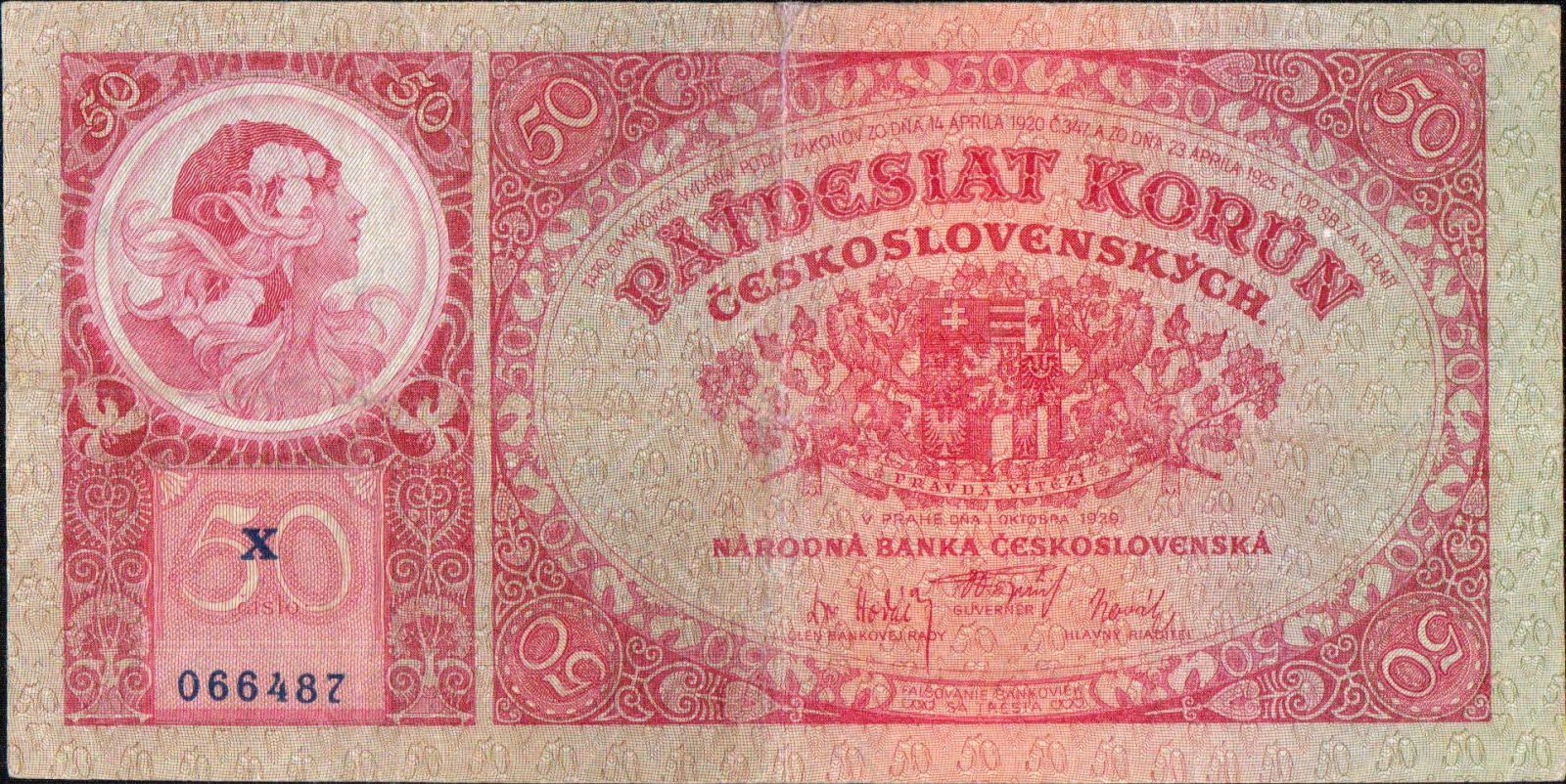 50Kč/1929/, stav 3, série X, chybotisk OKTOBRA