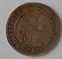 Slezsko břeh XV. Krejcar 1675 Gilvius Fridericus, vada materiálu