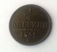 1/4 Krejcar, 1851, A, Rakousko, STAV!