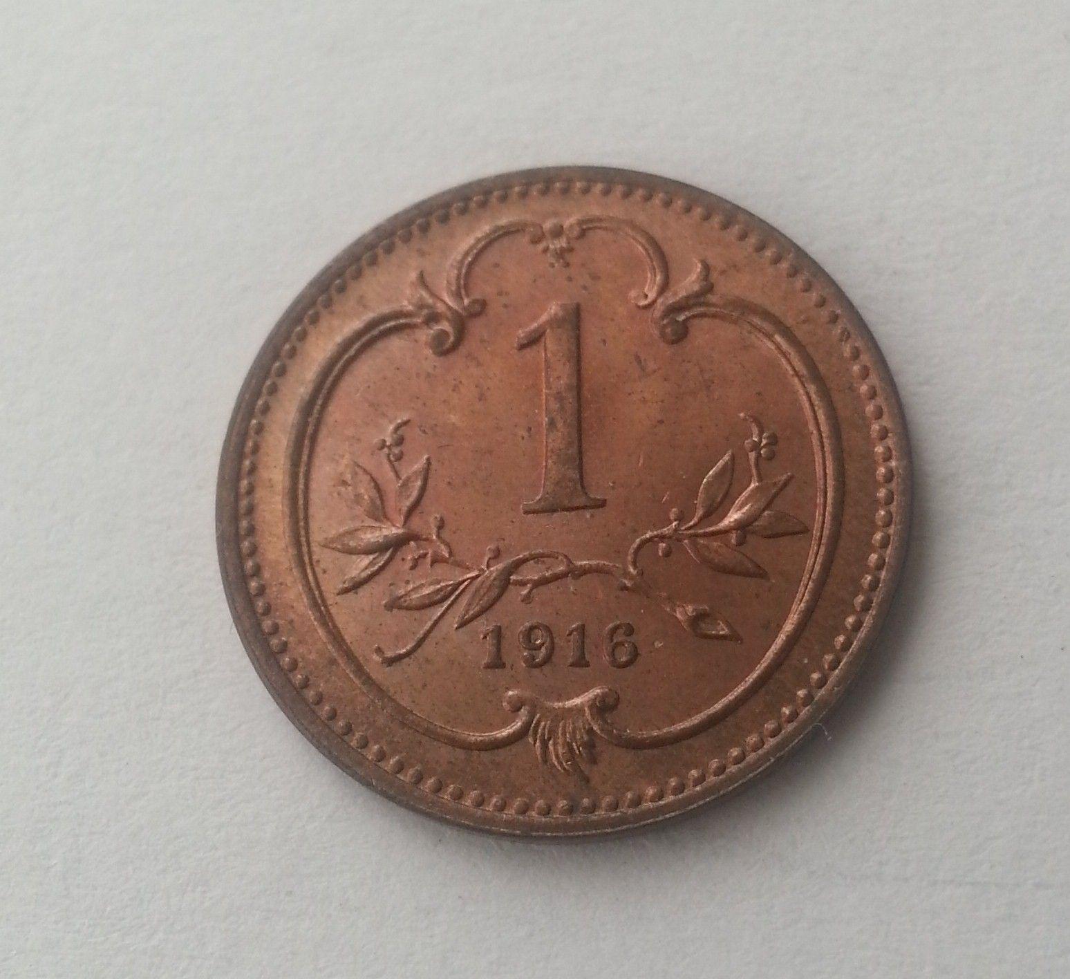 1 Haléř, 1916, Rakousko, STAV!