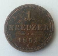 1 Krejcar, 1851, A, Rakousko