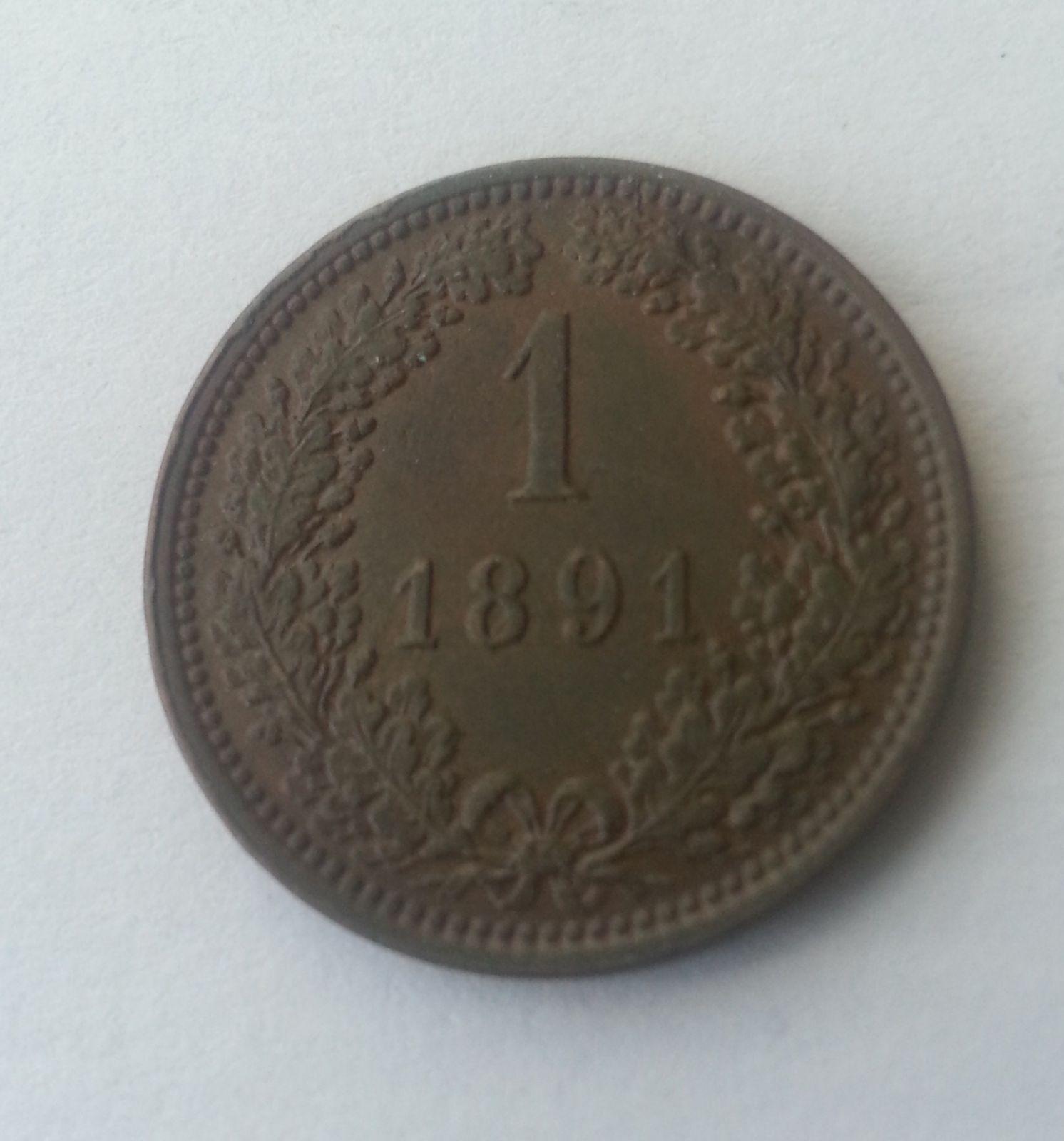 1 Krejcar, 1891, Rakousko, STAV!