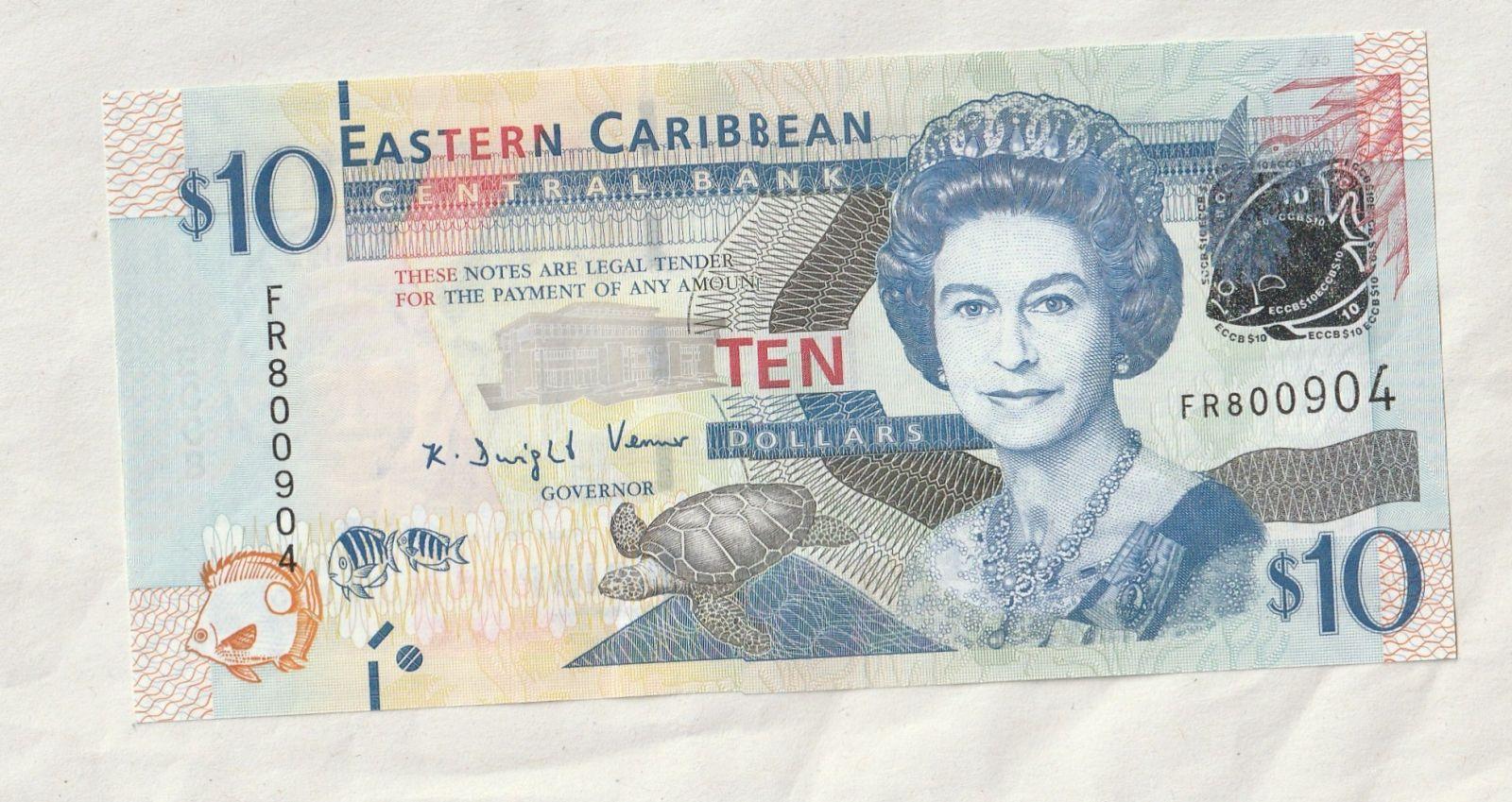 10 Dollar, Alžběta II., Východní Karibik