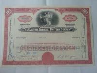 100 Shares, 1962, USA-akcie elektric storage
