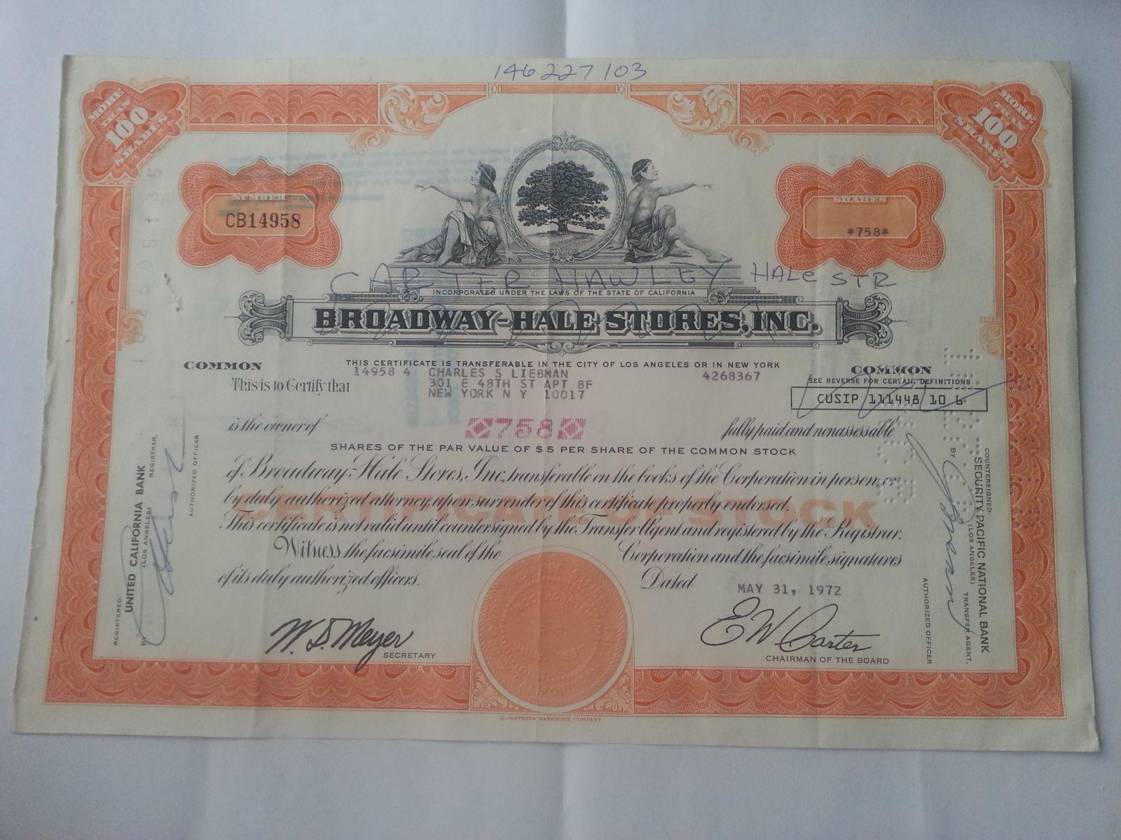 100 Shares, 1972, USA - akcie New York