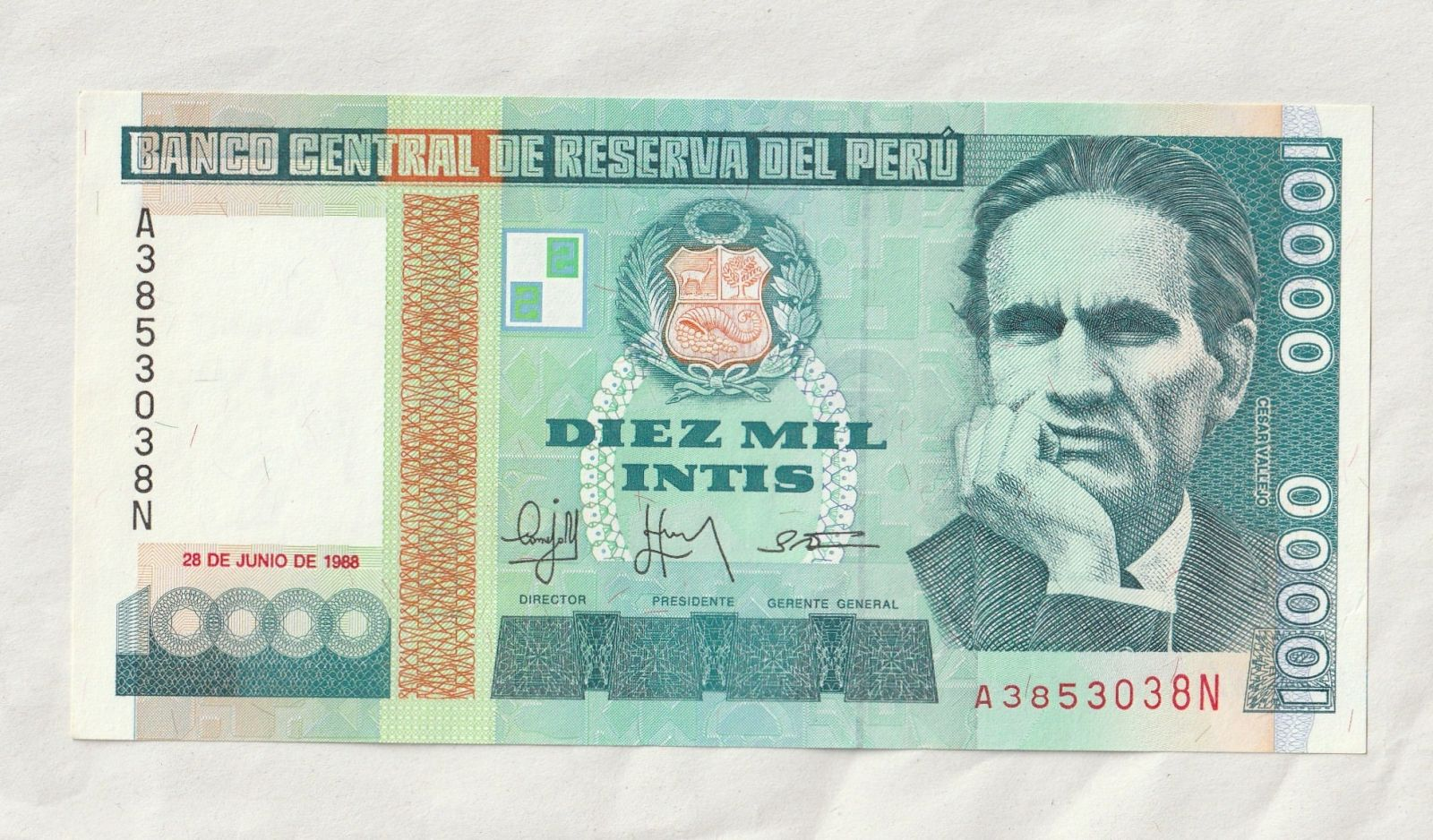 10000 Intis, 1988, Peru