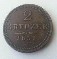 2 Krejcar, 1851, B, Uhry