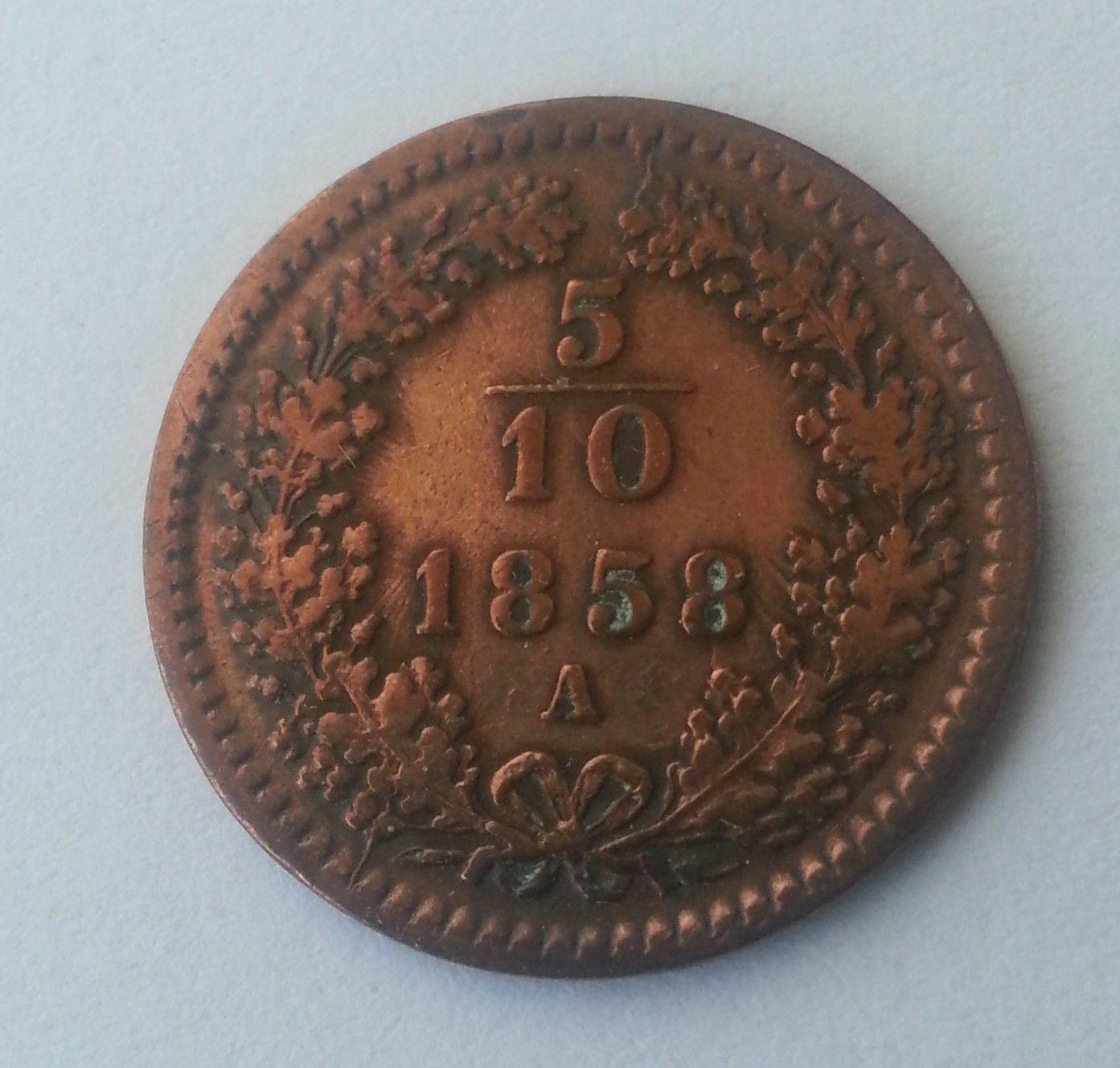 5/10 Krejcar, 1858, A, Rakousko