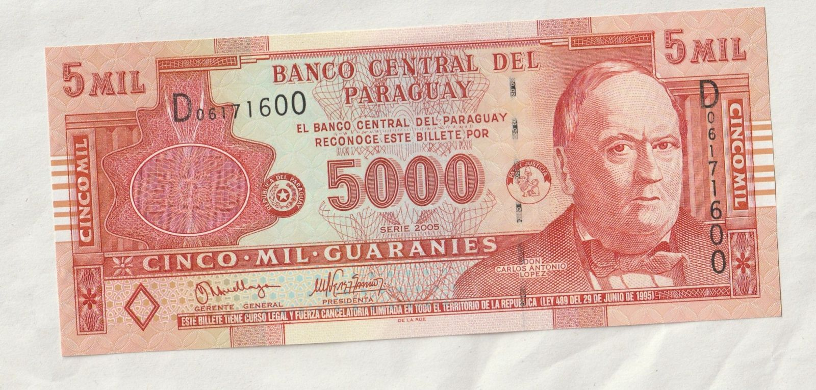 5000 Guaranies, 2005, Paraguay