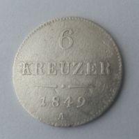 6 Krejcar, 1849, A, Rakousko