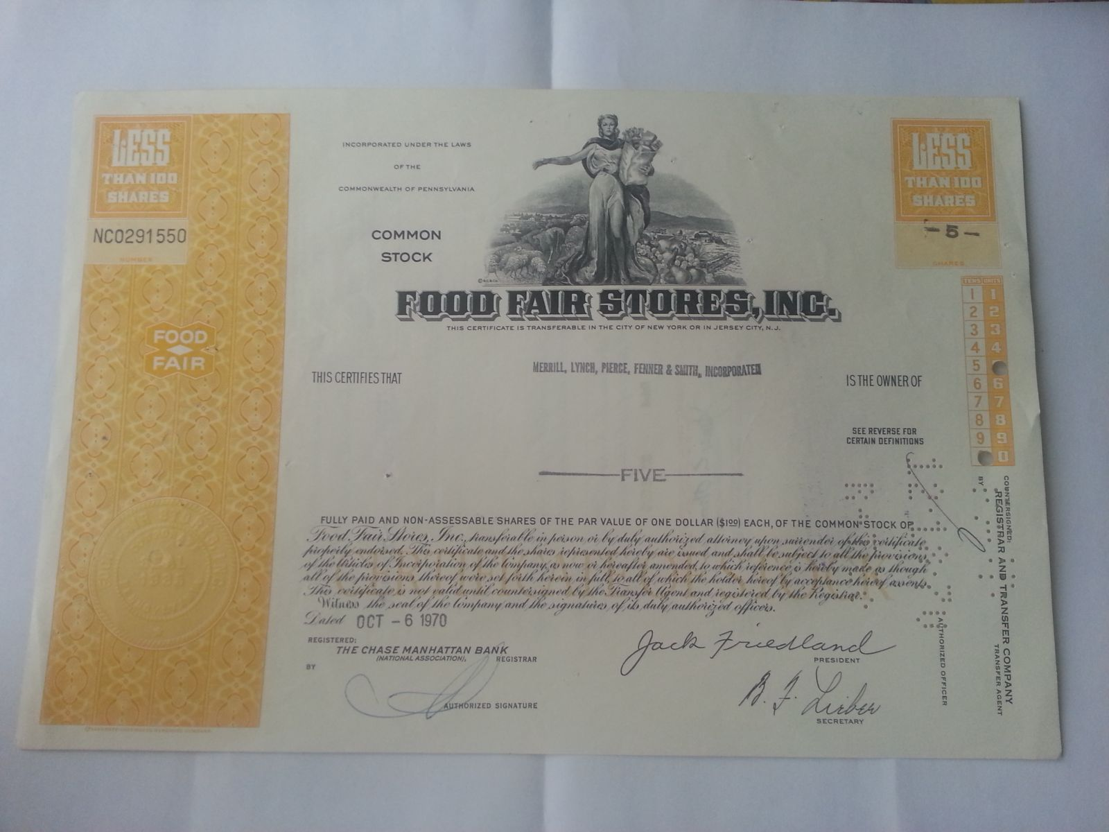 USA-akcie, Food Fair, 1970, USA