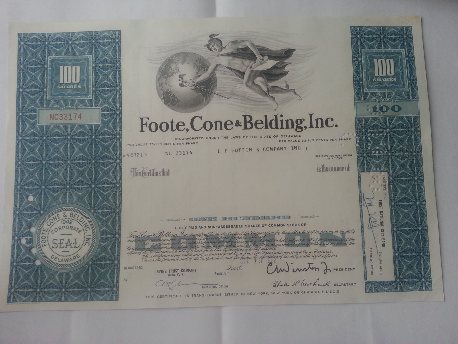 USA-akcie- Foote, Cone, Beldine, 1968, USA
