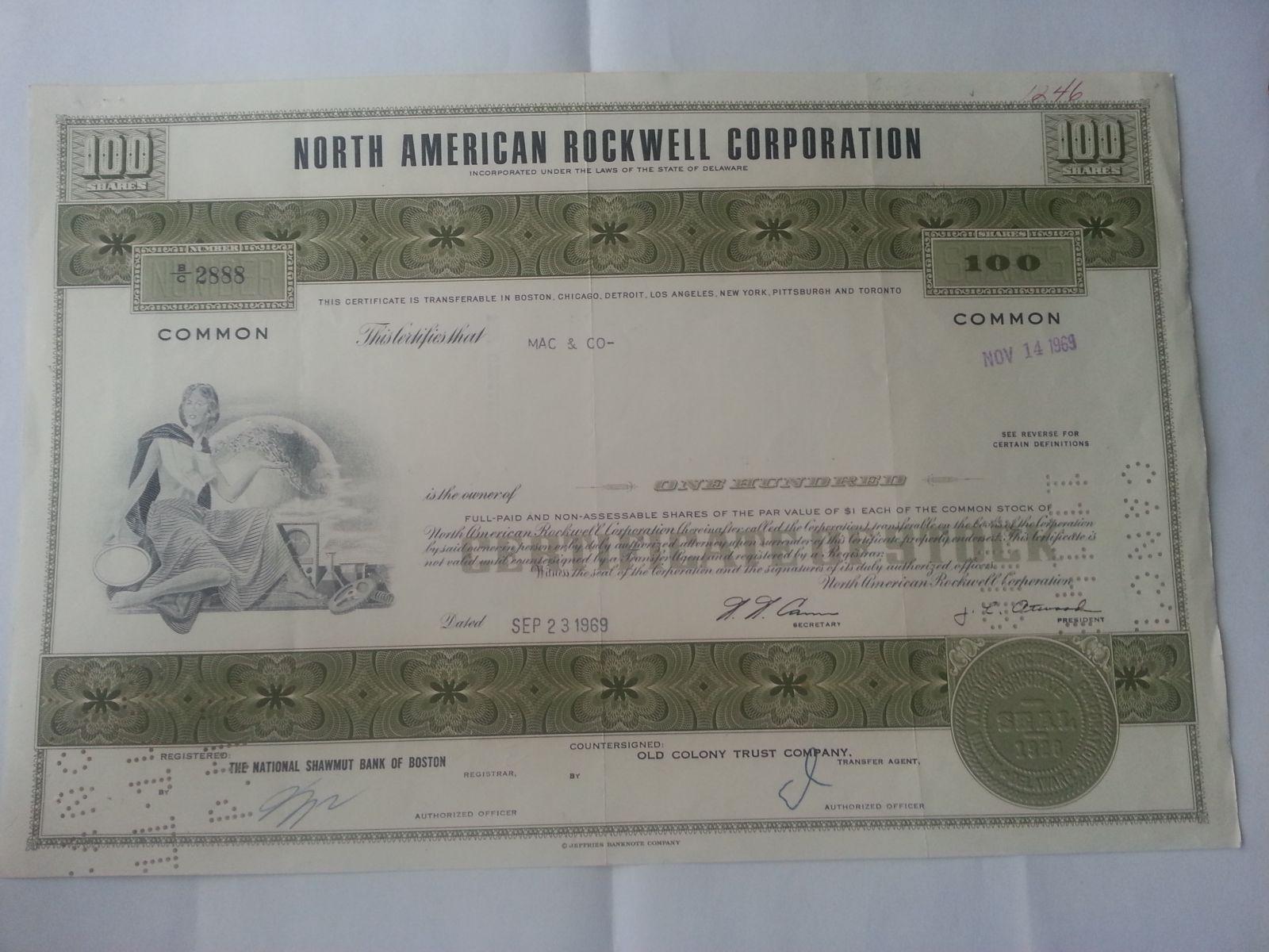 USA-akcie, Rockwel Corporation, 1969, USA