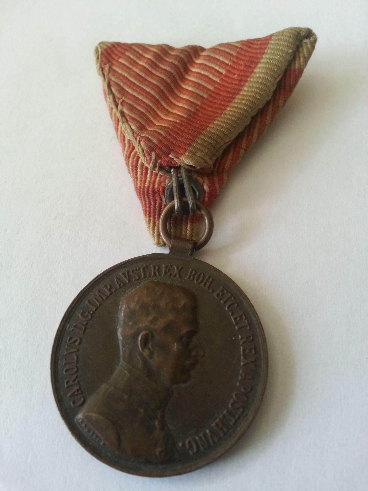 Fortitudini - bronz Karel, původní stuha,, Rakousko