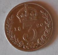 Anglie 3 Pence 1890 Viktorie