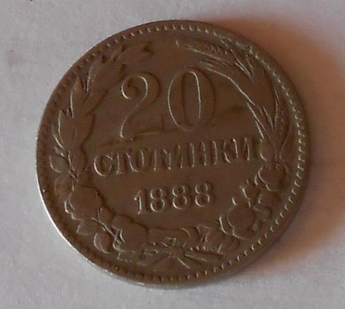 Bulharsko 20 Stotinek 1888