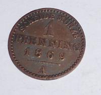 Prusko 1 Pfenik 1869 A