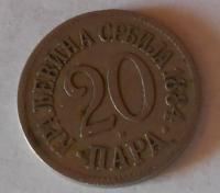 Srbsko 20 Para 1884