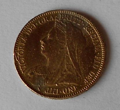 Anglie 1/2 Libra 1901 dobové falzum 2,22 g