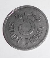 Německo-Duren 5 Pfenik 1918 stav