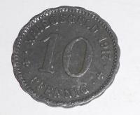 Německo-Kriegsgeld 10 Pfenik 1917 stav, novoražba