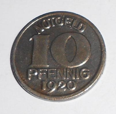 Německo-Notgeld 10 Pfenik 1920 stav, novoražba