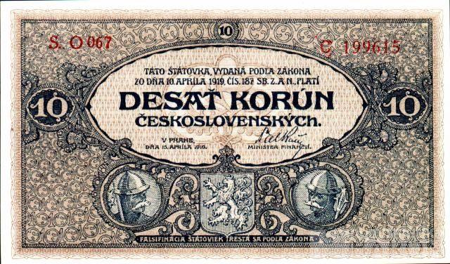 KOPIE 10Kč/1919/, stav UNC