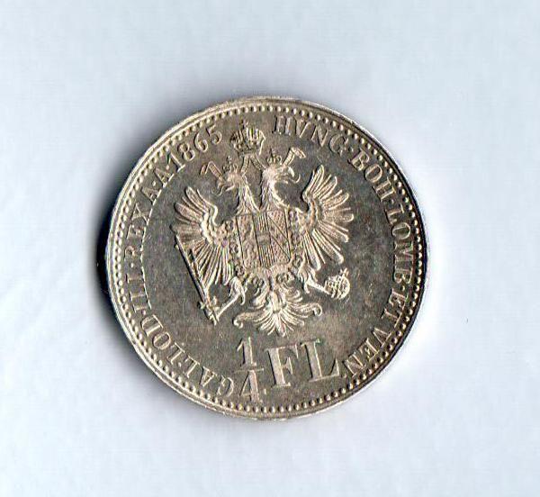 1/4 Zlatník/Gulden(1865), stav 0/0 - patina