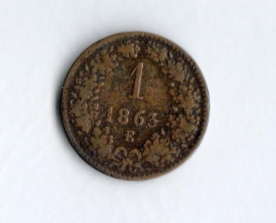 1 Krejcar(1863), stav 2+/2+, ražba E, vzácný