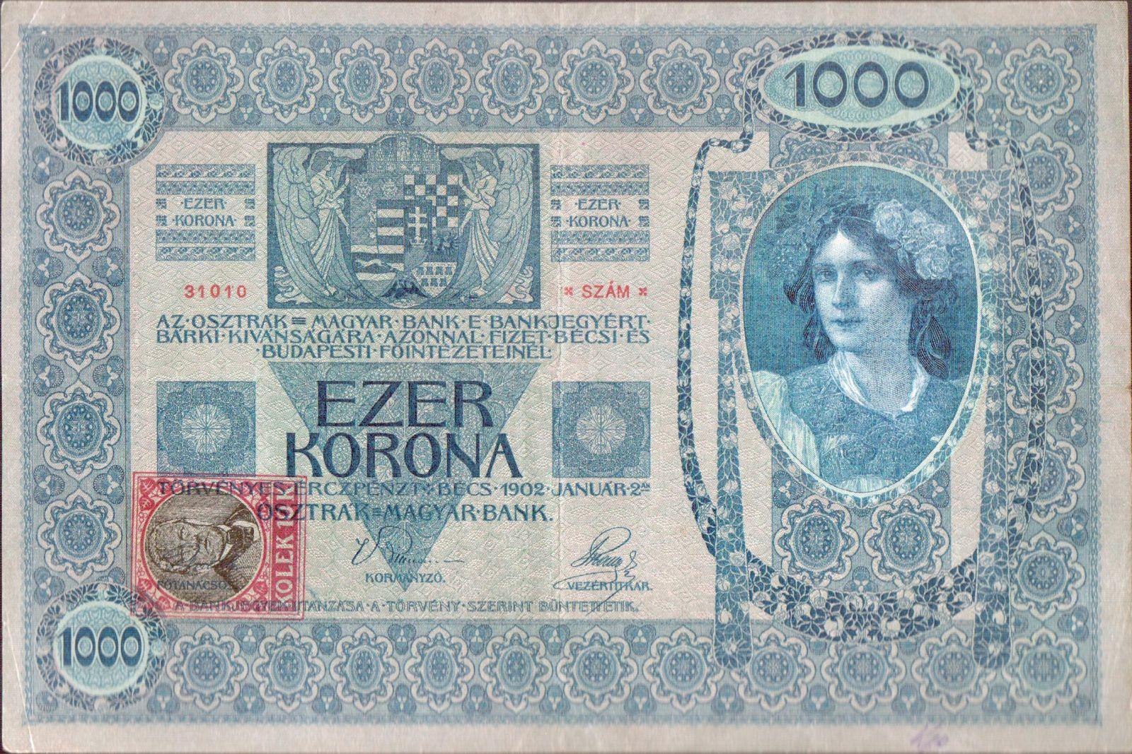 1000Kč/1902-18, kolek ČSR/, stav 2+, série 1203, šedozelený podtisk