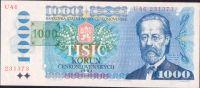 1000Kč/1985-93/, stav UNC, tištěný kolek ČR 1993, série U