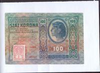 100Kč/1912-18, kolek ČSR/, stav 3- natržená, série 1426