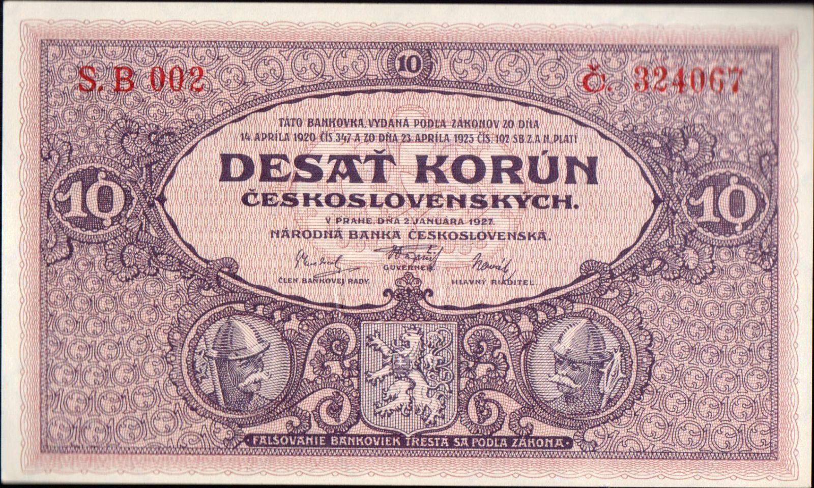 10Kč/1927/, stav UNC, série B 002