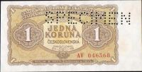 1Kčs/1953/, stav 0 perf. SPECIMEN, série AV - tisk GOZNAK Moskva, bankovní vzor!