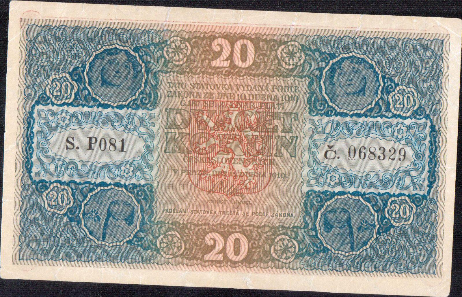 20Kč/1919/, stav 0 opravená natržení, série P 081