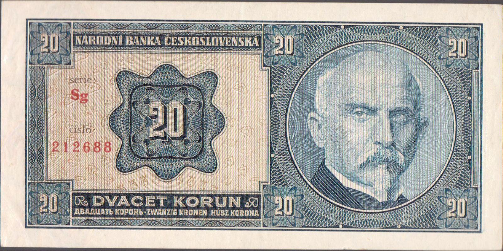 20Kč/1926/, stav 1+, série Sg