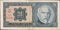 20Kč/1926/, stav 3-, série Yf