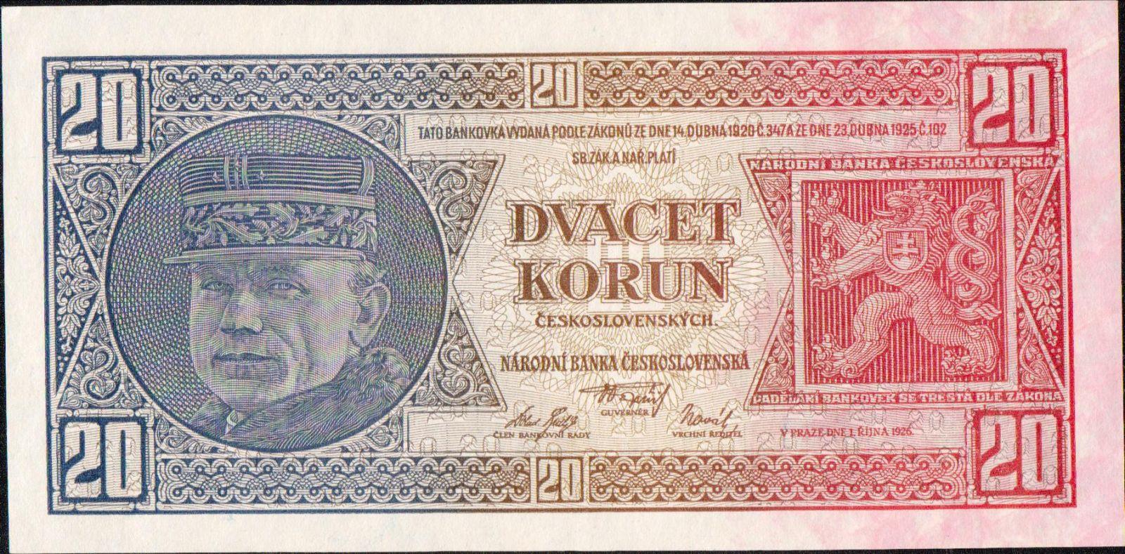 20Kč/1926/, stav UNC, série Uf