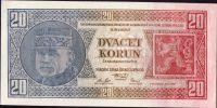 20Kč/1926/, stav UNC, série Ue - perfektní hlubotisk