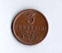 3 Centesimi(1852), stav 1+/1+ dr.hr., ražba M - opis Regno Lombardo Veneto