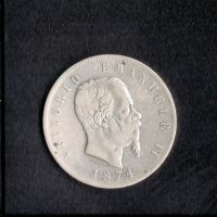 Itálie 5 Lir 1874, V. Emanuel