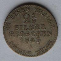 Prusko - A 21/2 stř. Groš 1843 Frid. Wilh. IV.