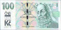 100Kč/2018/, stav UNC, série M, přítisk ČNB 100 let Kč 1919-2019