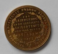 Rakousko 1 Zlatník/Gulden Příbramský 1875 zlacená novoražba