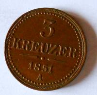 Rakousko 3 Krejcar 1851 A stav