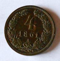Rakousko 4 Krejcar 1861 A stav